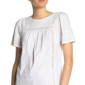 Lucky Brand Blouse White Embroidered Eyelet Sz S